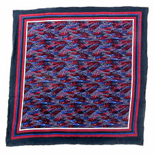 SANTOSTEFANO Handmade Navy Burgundy White Silk Pocket Square Handkerchief $150