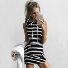 Womens Ladies Slim Bodycon Summer Bandage Party Mini Dress Hoodie Tops Size 6-14