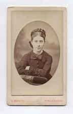 PHOTO ANCIENNE CDV Femme Mode Robe Ovale Noeud G. Moretti Paris Vers 1880