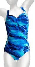 NWT MSRP $150 - MIRACLESUIT AVERI One-Piece Swimsuit, Blue Multi-color, Size 12