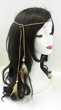 Native American Red Indian Feather Headdress Headband Brown Boho War Bonnet V50