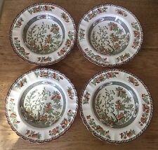 4 Soup Bowls Indian India Tree Orange,Rust,Green,Scallop,Red Trim Copeland Spode