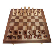 15 inch Standard Game Vintage Wooden Chess Set Hand Carved Foldable Board