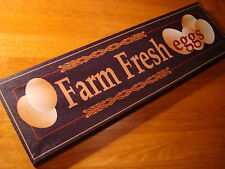 FARM FRESH EGGS Black & Brown Kitchen Wall Home Decor Sign NEW