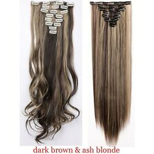18 Clips In On Hair Extensions Straight Curly Full Head Human Hair Extentions US