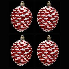 Décoration Sapin De Noël - Pack of 4 Cônes De Pin - Rouge & Blanc