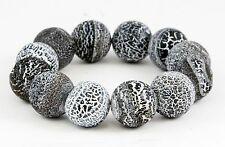 UNIQUE Polished Volcano Lava Rock Bead Bracelet 12 Beads Elastic 6.5""