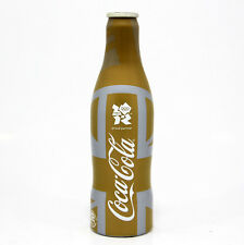 Coca Cola Coke Alu aluminum bottle Olympic UK 2012 Gold Union Jack empty