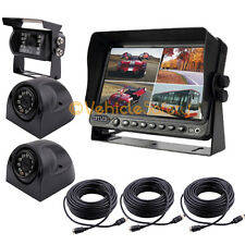 "7"" QUAD MONITOR WITH DVR BACKUP CAMERA SAFETY SYSTEMS FOR TRUCK TRAILER RV"