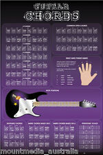 GUITAR CHORD CHART POSTER Learning Guide Wall Music Education Simple Clear NEW