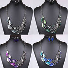 Fashion Peacock tail Crystal Necklace Earrings Set Jewelry choker chunky