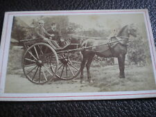 CDV old photograph two men horse drawn carriage c1870s