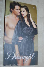 Womens Lingerie SEXY BLACK Satin Look NIGHTGOWN & BELTED ROBE Dreamgirl L 12-14