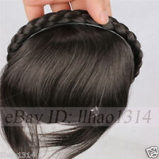 Women Synthetic Black Hair Fringes with Braided Headband Sides Long Hair Bangs ~