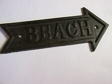 Men's Fisherman's Nautical BEACH ARROW FISHING  CAST IRON SIGN vintage style
