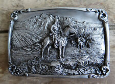 Charles M Russell Free Trapper Mountain Man Fur Trapping Western Belt Buckle