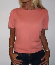 NEW Lord & Taylor 100% Cashmere CORAL Short Sleeve Sweater Medium S
