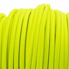 NEON YELLOW vintage textile fabric electrical cord cloth cable retro