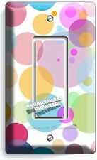 ABSTRACT PASTEL POLKA DOTS SINGLE GFI LIGHT SWITCH WALL PLATE COVER BABY NURSERY