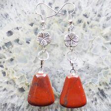 A Pair Red Jasper Trapezoid Tibet silver Flower Earrings N179