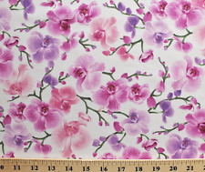 Timeless Treasures Orchids Flowers Branches Vines 100% cotton fabric by the yard