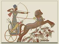 PRINT POSTER PAINTING ANCIENT EGYPTIAN CHARIOTEER ARCHER BATTLE HORSES LFMP0126