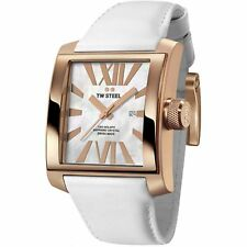 NEW TW Steel CE3016 Men's CEO Goliath Watch Date Rose Gold White Leather Band