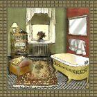 Bathroom Art Print - Bathroom in Green IV 12 x 12 - Lenny Karcinell - New!