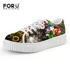 Breathable Women Flat Platform Shoes 3D Cat Print  Spring Autumn Creepers Shoes