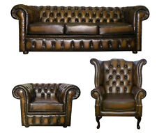 New Chesterfield 3 Piece Suite Genuine 100% Leather Handmade in UK Antique Brown