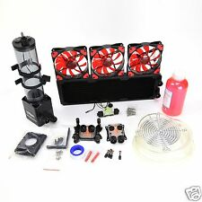 PC Liquid Cooling 360 Radiator Kit Pump 220mm Reservoir CPU GPU HeatSink RED #3