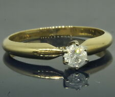 14k Yellow Gold 1/4 Ct Round Diamond Solitaire Engagement Estate Ring
