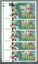 1X FRANCE P-160a 500 FRANCS 1995 MARIE&PIERRE CURIE UNC CONSECUTIVE FROM BUNDLE