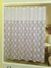 Dark Blue + White Geometric Pattern Fabric Shower Curtain with 12 Hooks