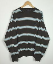 MENS FRED PERRY STRIPED CREW NECK SWEATER SWEATSHIRT JUMPER SPORT UK XL