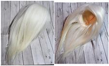 Wig en mohair lisse sur peau- blanc crème, taille 8-9 / Doll, BJD, Pullip, SD