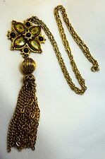 Vtg Enameled & Black Glass Bead Pendant Necklace w/ Tassle Marked Denise