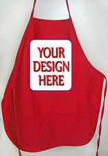 QTY 100 RED APRONS CUSTOMIZED PERSONALIZED WITH YOUR DESIGN FOR EVENT OR GROUP