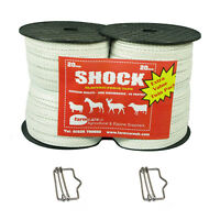Electric Fencing Twin Pack 2x 200 meters White 20mm Tape + 2 free tape conn FREE