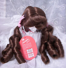 "MONIQUE Doll Wig ""MELODY"" Size 12-13 LIGHT BROWN - Long Ringlet PIGTAILS & Bangs"