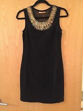 Black Dress Gold Statement Necklace Detail Spikes Sleeveless Short Tight Sheer M