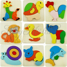 Wooden Blocks Kid Child Cartoon Animal Design Puzzle Game Educational Toy