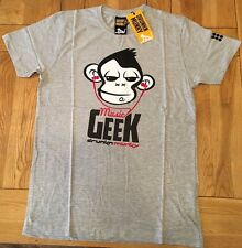Men's grey marl DRUNKNMUNKY 'musik geek' logo print short sleeve tee,  LARGE