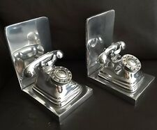 """A Pair of Vintage Large & Unusual English Heavy Pewter """"Telephone"""" Bookends"""
