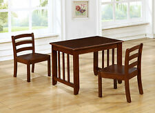 Super Kids table and 2 Chairs Set Solid Hard Wood in Coffee