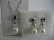 18CT WHITE GOLD DIAMOND SAPPHIRE PEARL DROP EARRINGS WITH SAME PENDANT GIFT SET