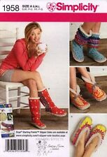 Simplicity Sewing Pattern 1958 Women's Slippers Boots House shoes 5 - 10-1/2