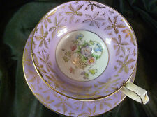 GLADSTONE MAUVE / WHITE TEA CUP AND SAUCER  H.P. BASKET FLOWERS GOLD  AWESOME