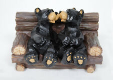 Wedding Cake Topper Black Bears Kissing in Log Chair Figurine Indoor Home Decor