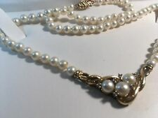 "18"" Pearl 0.095ct Diamond 10k Gold Necklace"